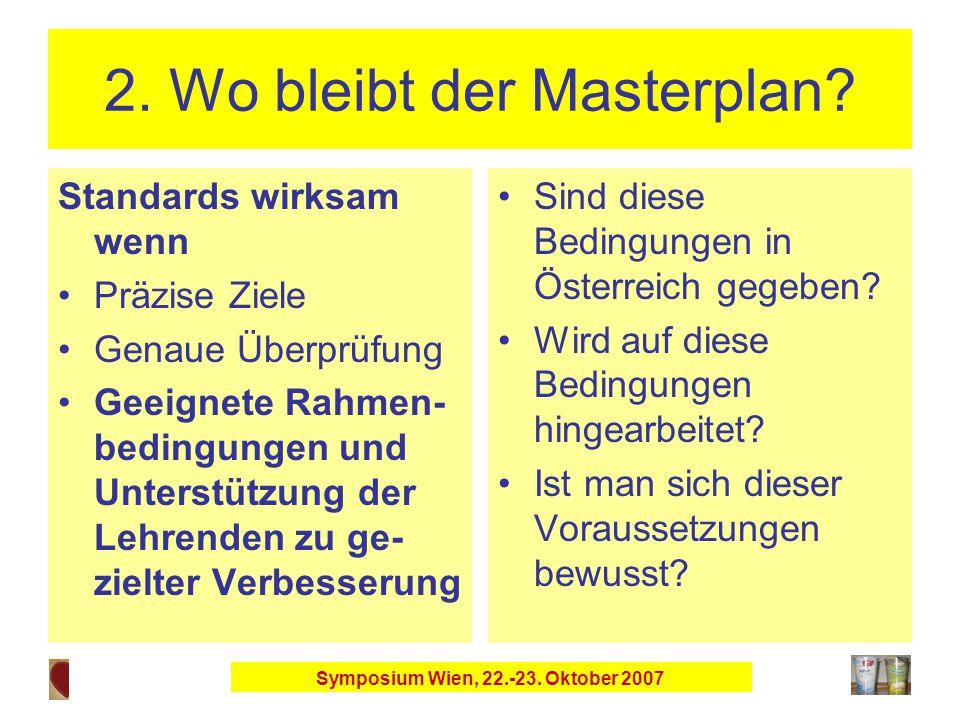 Symposium Wien, 22.-23. Oktober 2007 2. Wo bleibt der Masterplan.