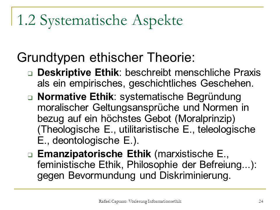 Rafael Capurro: Vorlesung Informationsethik 24 1.2 Systematische Aspekte Grundtypen ethischer Theorie:  Deskriptive Ethik: beschreibt menschliche Pra