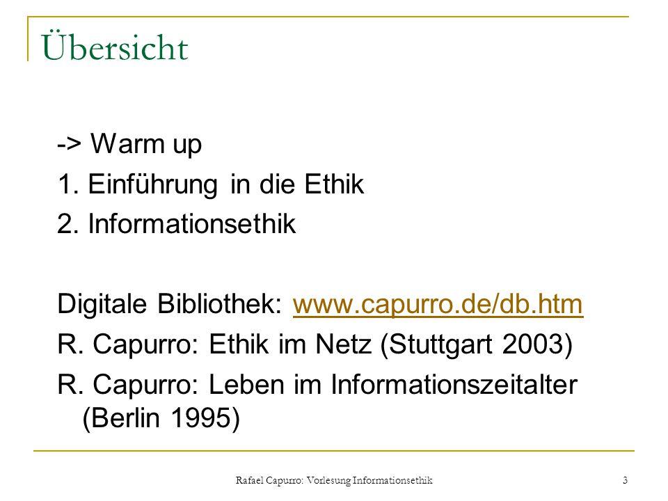 Rafael Capurro: Vorlesung Informationsethik 3 Übersicht -> Warm up 1. Einführung in die Ethik 2. Informationsethik Digitale Bibliothek: www.capurro.de