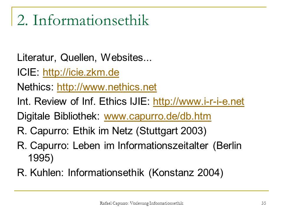 Rafael Capurro: Vorlesung Informationsethik 35 2. Informationsethik Literatur, Quellen, Websites... ICIE: http://icie.zkm.dehttp://icie.zkm.de Nethics