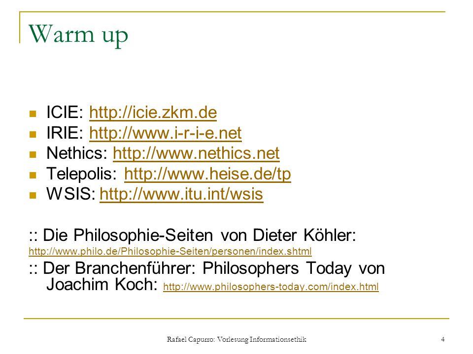 Rafael Capurro: Vorlesung Informationsethik 4 Warm up ICIE: http://icie.zkm.dehttp://icie.zkm.de IRIE: http://www.i-r-i-e.nethttp://www.i-r-i-e.net Ne
