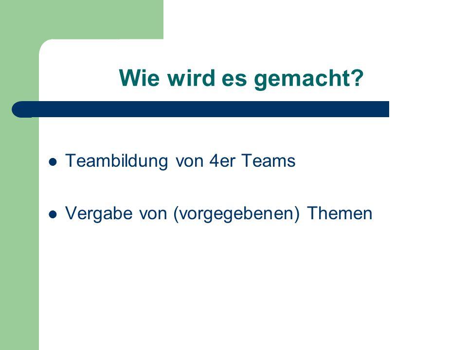 Wie wird es gemacht Teambildung von 4er Teams Vergabe von (vorgegebenen) Themen