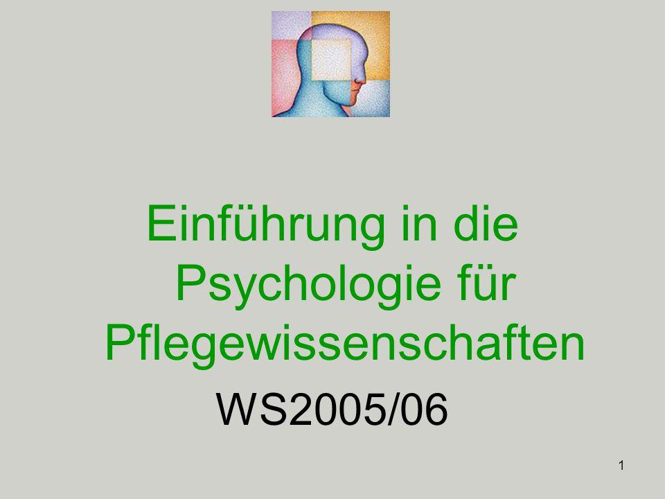 1 Einführung in die Psychologie für Pflegewissenschaften WS2005/06