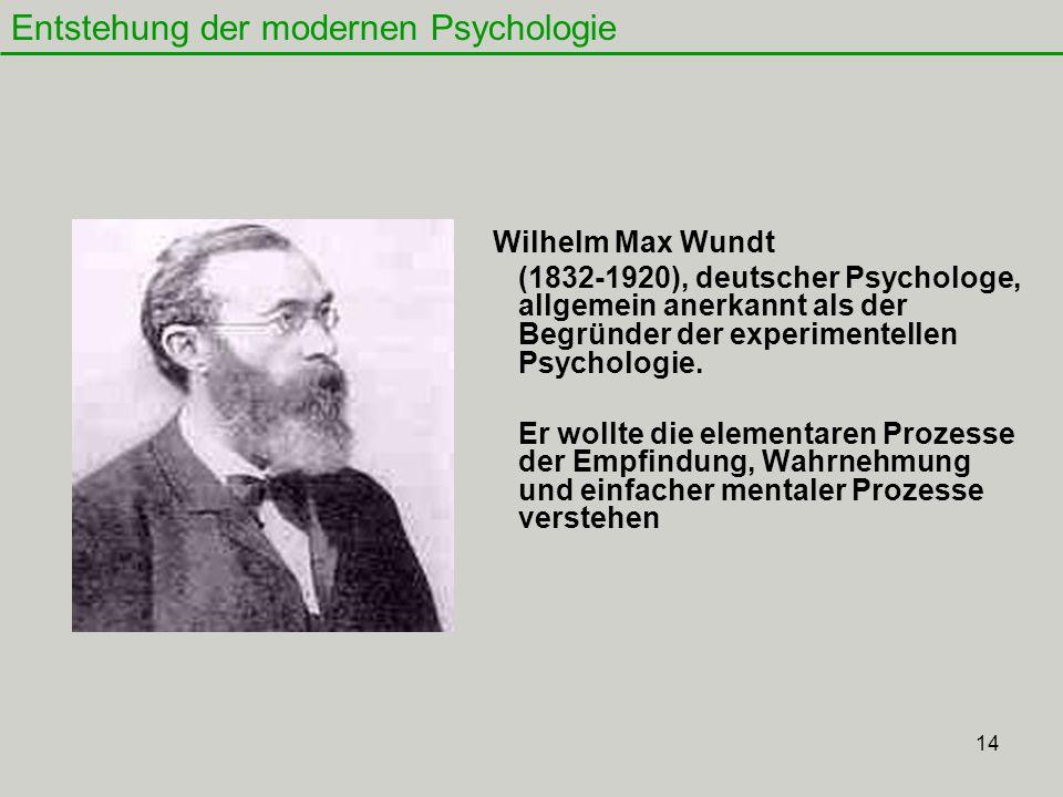 14 Wilhelm Max Wundt (1832-1920), deutscher Psychologe, allgemein anerkannt als der Begründer der experimentellen Psychologie.