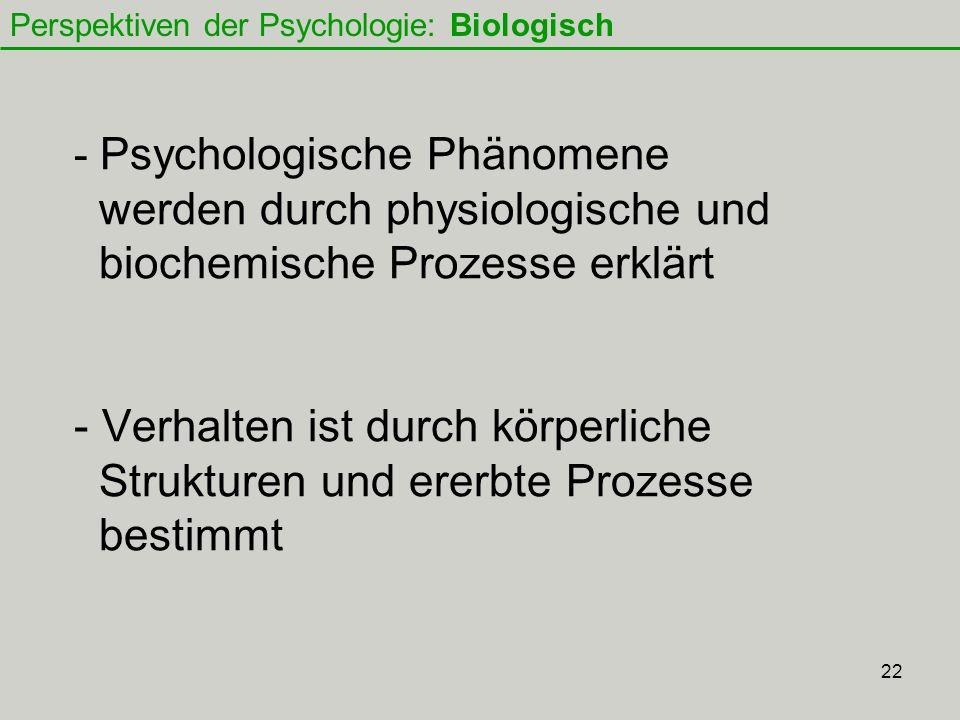 22 - Psychologische Phänomene werden durch physiologische und biochemische Prozesse erklärt - Verhalten ist durch körperliche Strukturen und ererbte Prozesse bestimmt Perspektiven der Psychologie: Biologisch