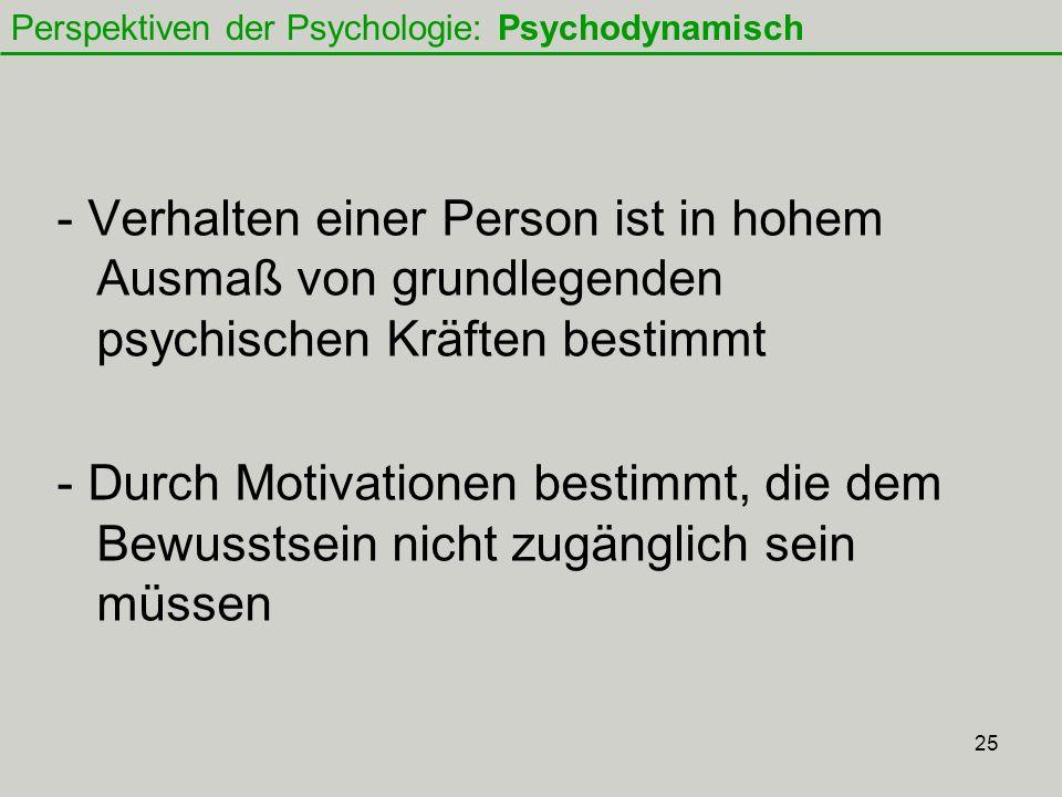 25 - Verhalten einer Person ist in hohem Ausmaß von grundlegenden psychischen Kräften bestimmt - Durch Motivationen bestimmt, die dem Bewusstsein nicht zugänglich sein müssen Perspektiven der Psychologie: Psychodynamisch