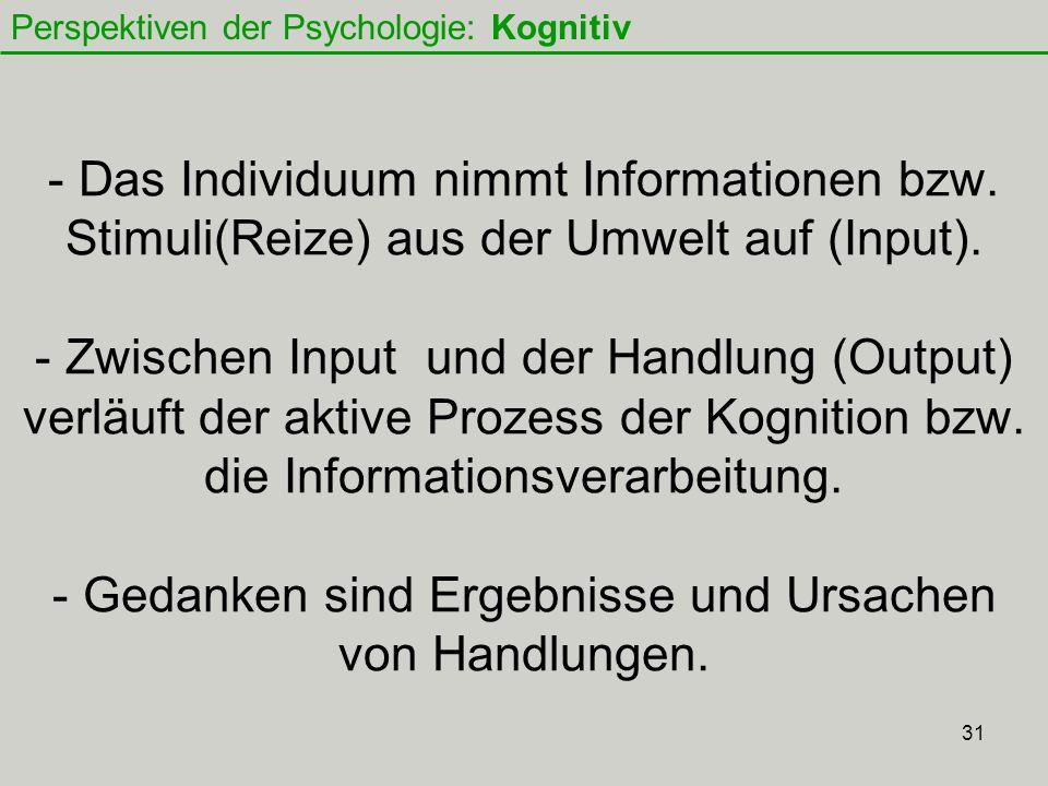 31 - Das Individuum nimmt Informationen bzw.Stimuli(Reize) aus der Umwelt auf (Input).