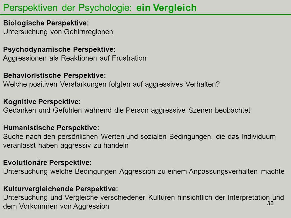 36 Perspektiven der Psychologie: ein Vergleich Biologische Perspektive: Untersuchung von Gehirnregionen Psychodynamische Perspektive: Aggressionen als Reaktionen auf Frustration Behavioristische Perspektive: Welche positiven Verstärkungen folgten auf aggressives Verhalten.