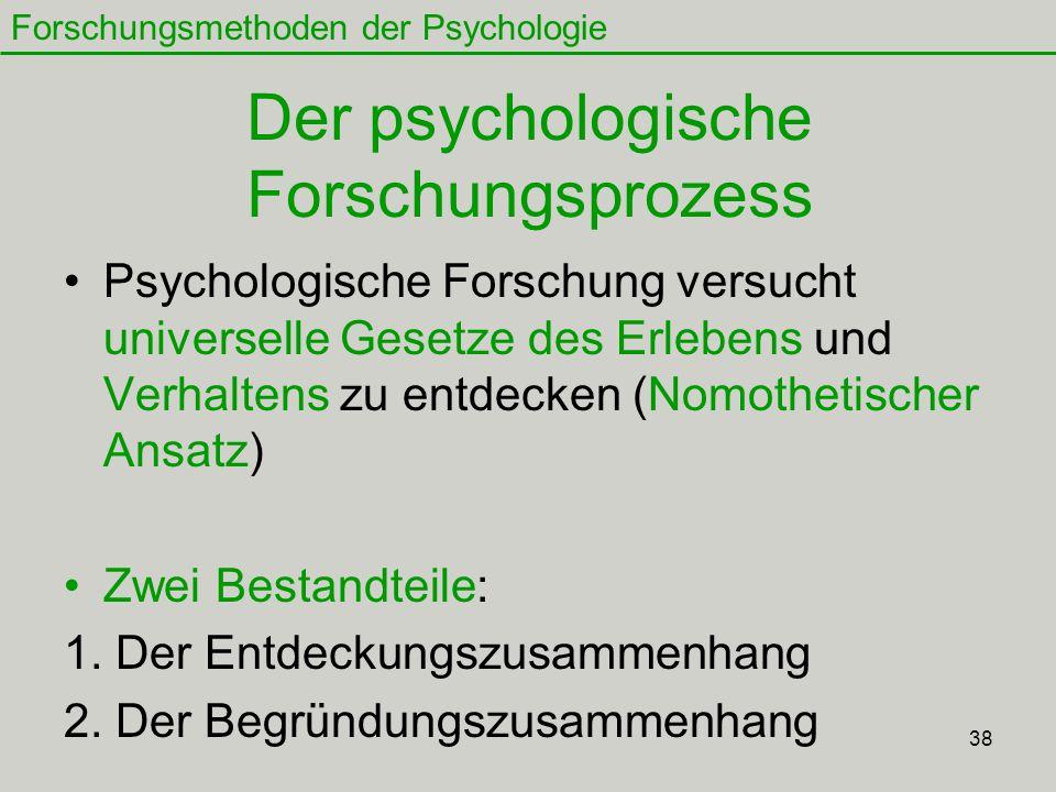 38 Der psychologische Forschungsprozess Psychologische Forschung versucht universelle Gesetze des Erlebens und Verhaltens zu entdecken (Nomothetischer Ansatz) Zwei Bestandteile: 1.