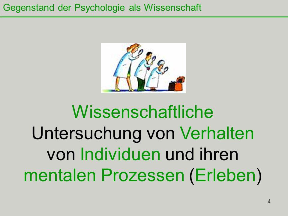 4 Wissenschaftliche Untersuchung von Verhalten von Individuen und ihren mentalen Prozessen (Erleben) Gegenstand der Psychologie als Wissenschaft