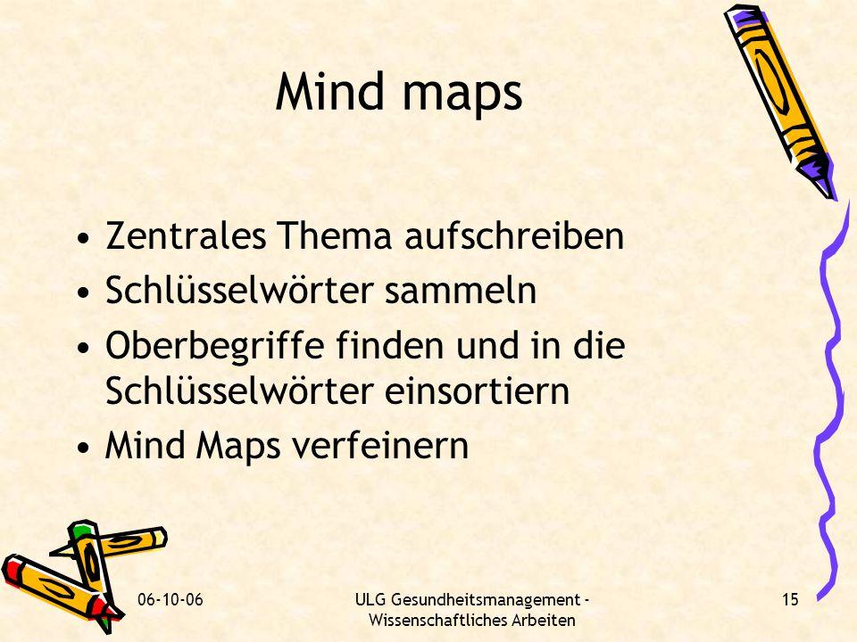 06-10-06ULG Gesundheitsmanagement - Wissenschaftliches Arbeiten 15 Mind maps Zentrales Thema aufschreiben Schlüsselwörter sammeln Oberbegriffe finden