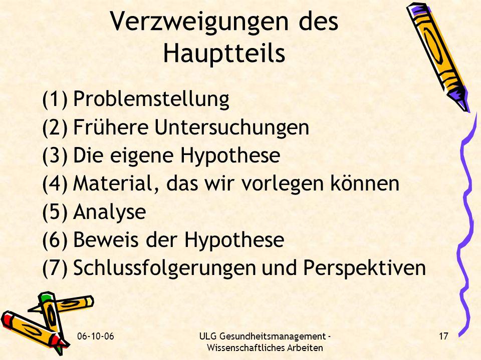 06-10-06ULG Gesundheitsmanagement - Wissenschaftliches Arbeiten 17 Verzweigungen des Hauptteils (1)Problemstellung (2)Frühere Untersuchungen (3)Die ei