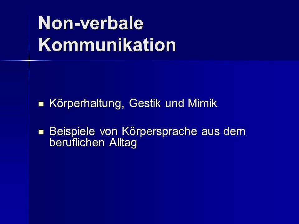 Non-verbale Kommunikation Körperhaltung, Gestik und Mimik Körperhaltung, Gestik und Mimik Beispiele von Körpersprache aus dem beruflichen Alltag Beisp