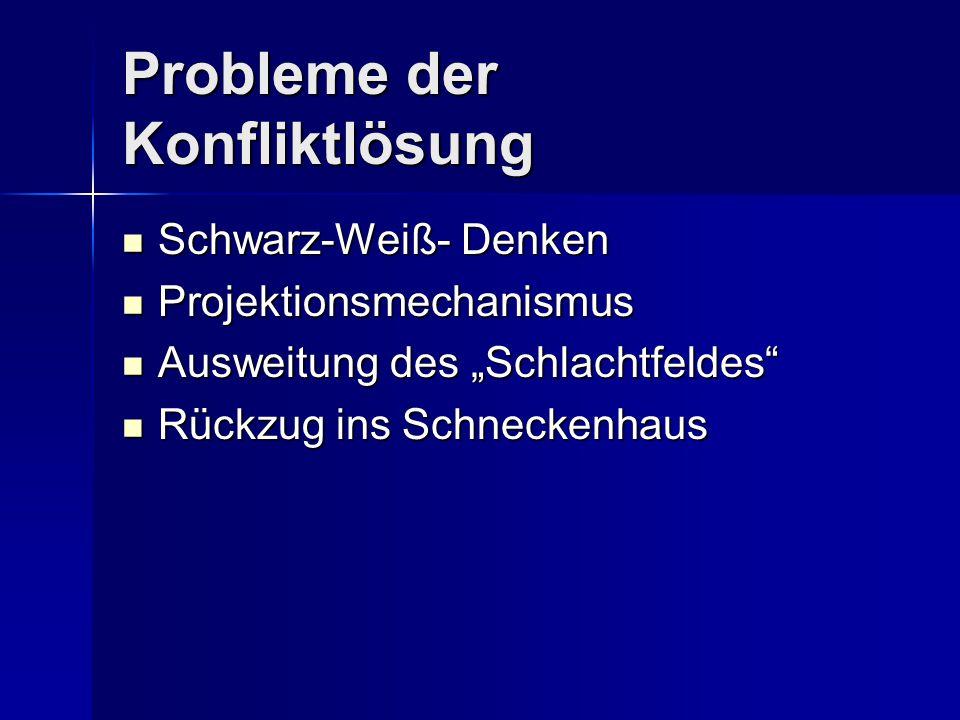 """Probleme der Konfliktlösung Schwarz-Weiß- Denken Schwarz-Weiß- Denken Projektionsmechanismus Projektionsmechanismus Ausweitung des """"Schlachtfeldes"""" Au"""