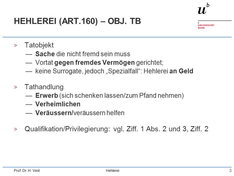 Hehlerei 3 Prof. Dr. H. Vest HEHLEREI (ART.160) – OBJ.