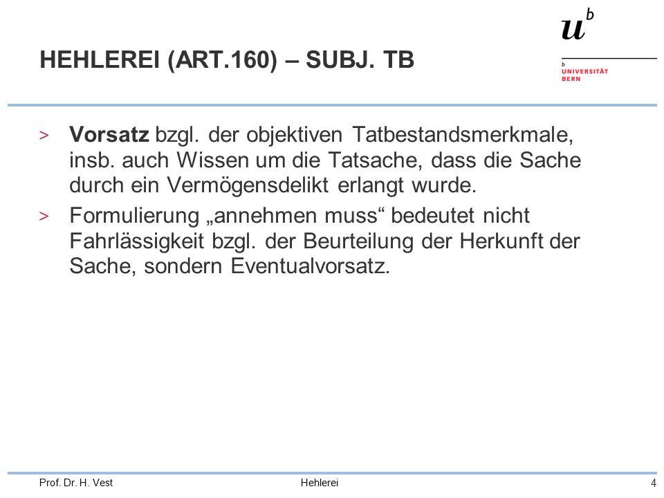 Hehlerei 4 Prof. Dr. H. Vest HEHLEREI (ART.160) – SUBJ.