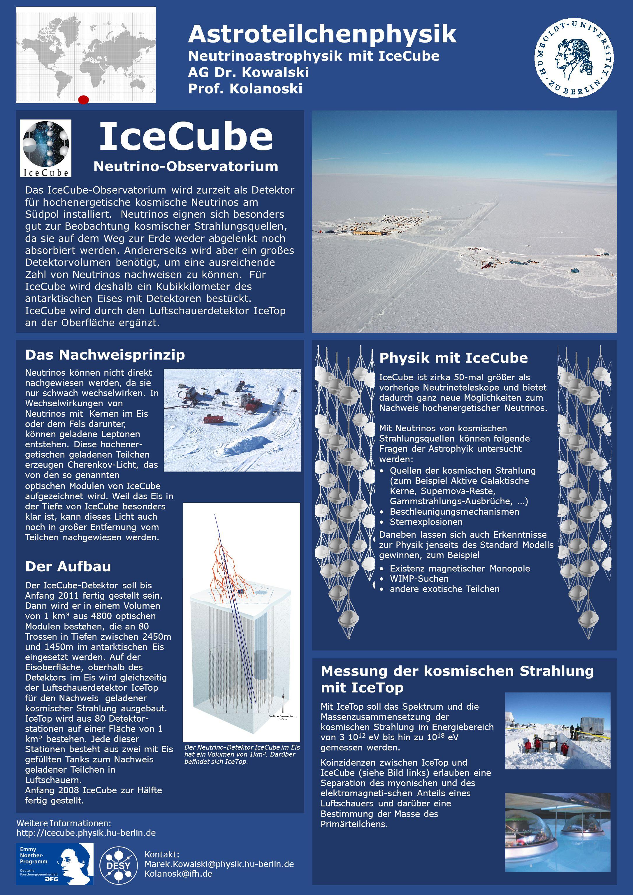 IceCube Neutrino-Observatorium Das IceCube-Observatorium wird zurzeit als Detektor für hochenergetische kosmische Neutrinos am Südpol installiert.