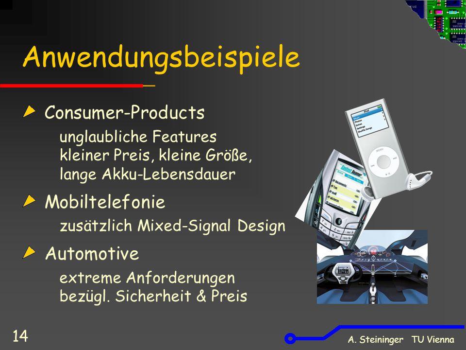 A. Steininger TU Vienna 14 Anwendungsbeispiele Consumer-Products unglaubliche Features kleiner Preis, kleine Größe, lange Akku-Lebensdauer Mobiltelefo