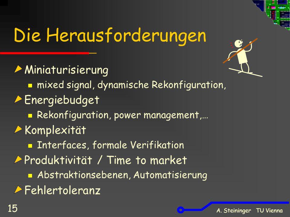 A. Steininger TU Vienna 15 Die Herausforderungen Miniaturisierung mixed signal, dynamische Rekonfiguration, Energiebudget Rekonfiguration, power manag