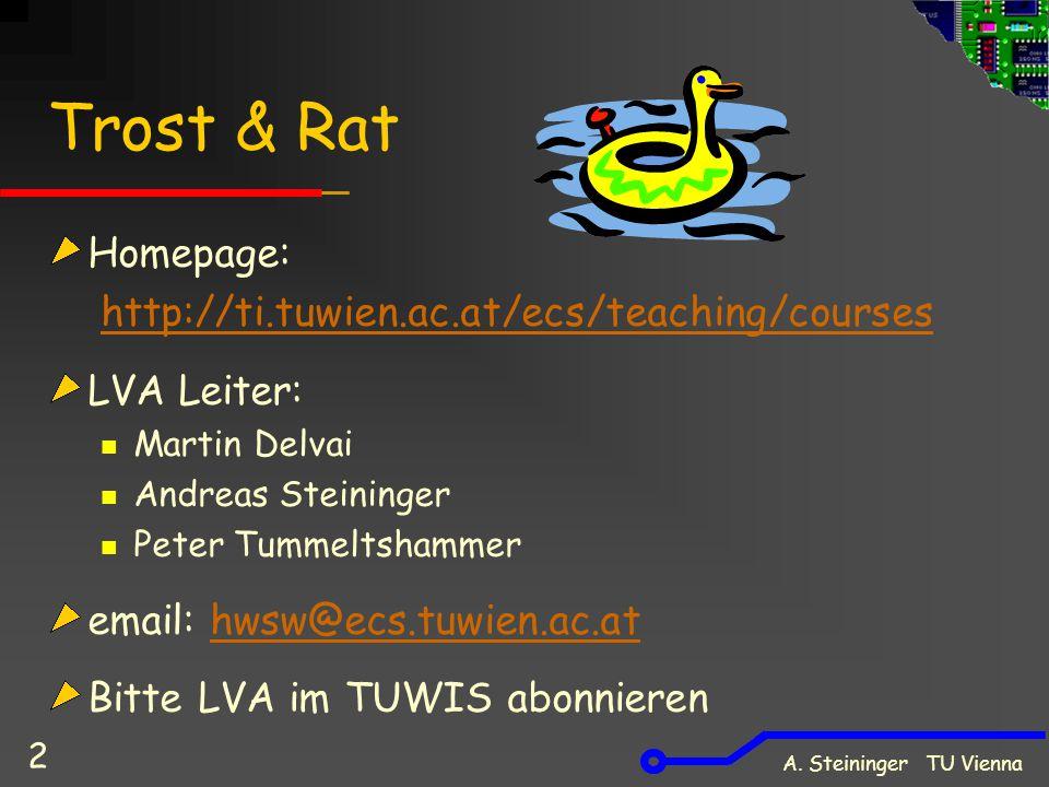 A. Steininger TU Vienna 2 Trost & Rat Homepage: http://ti.tuwien.ac.at/ecs/teaching/courses LVA Leiter: Martin Delvai Andreas Steininger Peter Tummelt