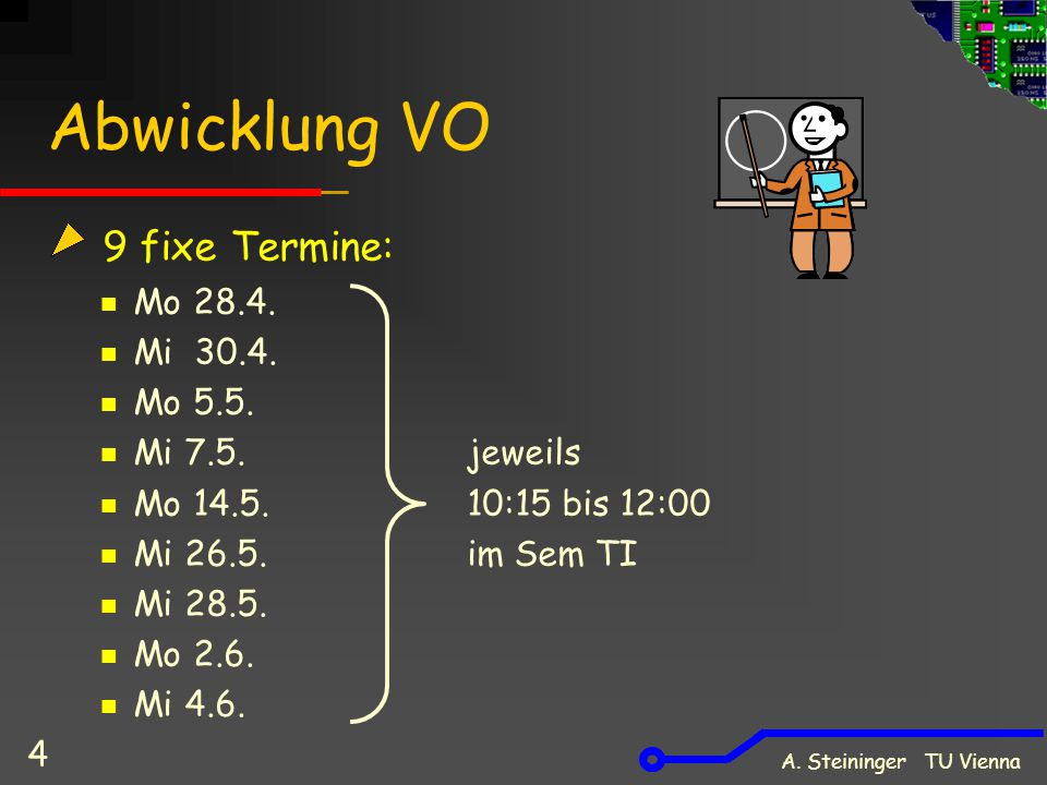 A. Steininger TU Vienna 4 Abwicklung VO 9 fixe Termine: Mo 28.4. Mi 30.4. Mo 5.5. Mi 7.5.jeweils Mo 14.5. 10:15 bis 12:00 Mi 26.5. im Sem TI Mi 28.5.