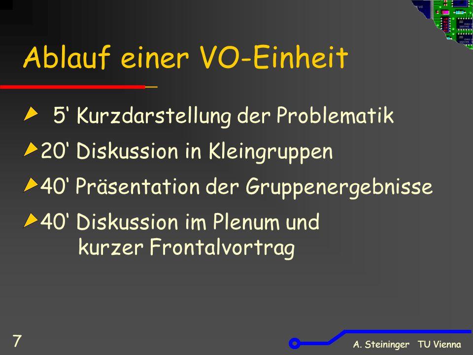 A. Steininger TU Vienna 7 Ablauf einer VO-Einheit 5' Kurzdarstellung der Problematik 20' Diskussion in Kleingruppen 40' Präsentation der Gruppenergebn