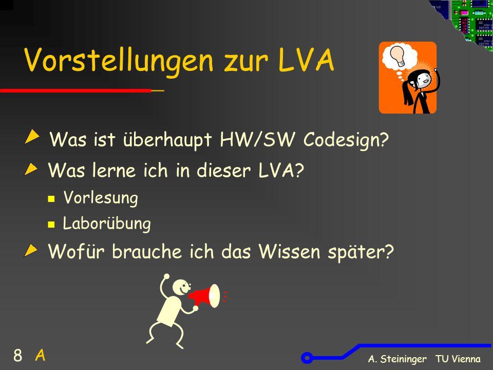 A. Steininger TU Vienna 8 Vorstellungen zur LVA Was ist überhaupt HW/SW Codesign? Was lerne ich in dieser LVA? Vorlesung Laborübung Wofür brauche ich