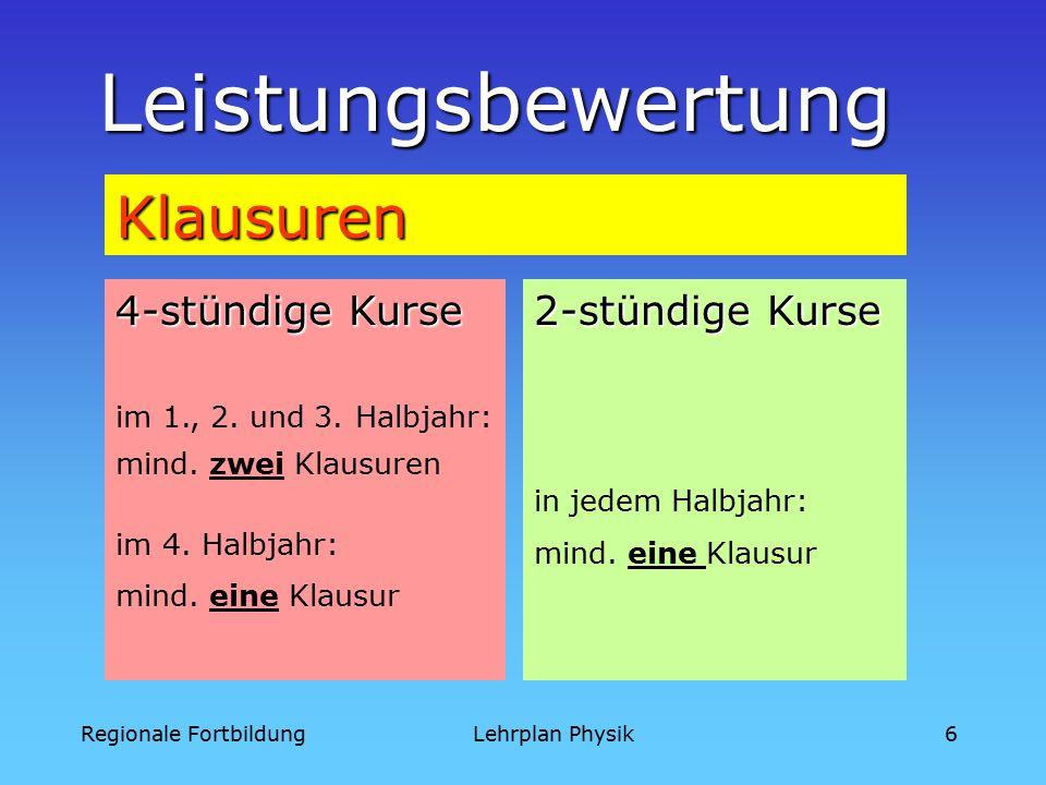 Regionale FortbildungLehrplan Physik6 Leistungsbewertung Klausuren 4-stündige Kurse im 1., 2.