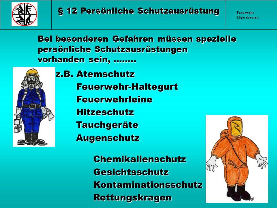 Feuerwehr Elgershausen Bei besonderen Gefahren müssen spezielle persönliche Schutzausrüstungen vorhanden sein,........ z.B. Atemschutz z.B. Atemschutz