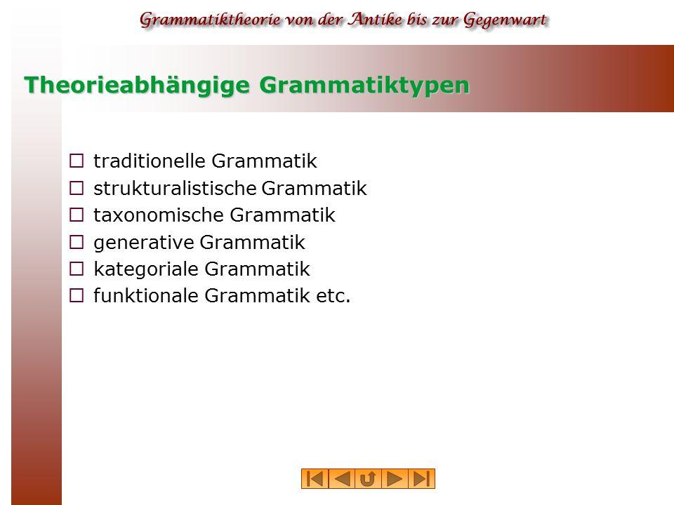 Theorieabhängige Grammatiktypen  traditionelle Grammatik  strukturalistische Grammatik  taxonomische Grammatik  generative Grammatik  kategoriale