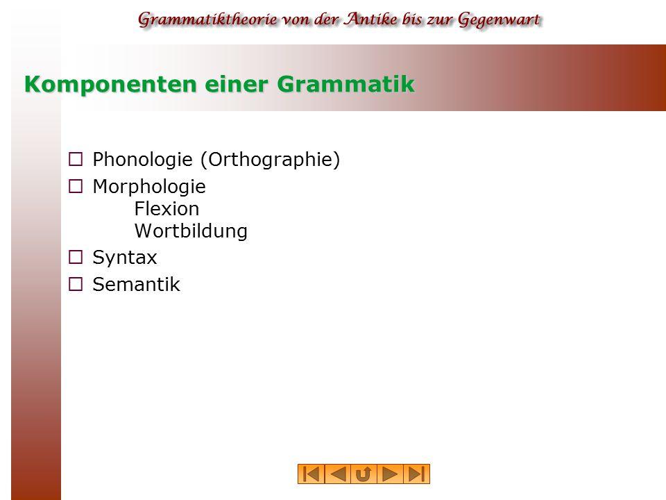 Komponenten einer Grammatik  Phonologie (Orthographie)  Morphologie Flexion Wortbildung  Syntax  Semantik