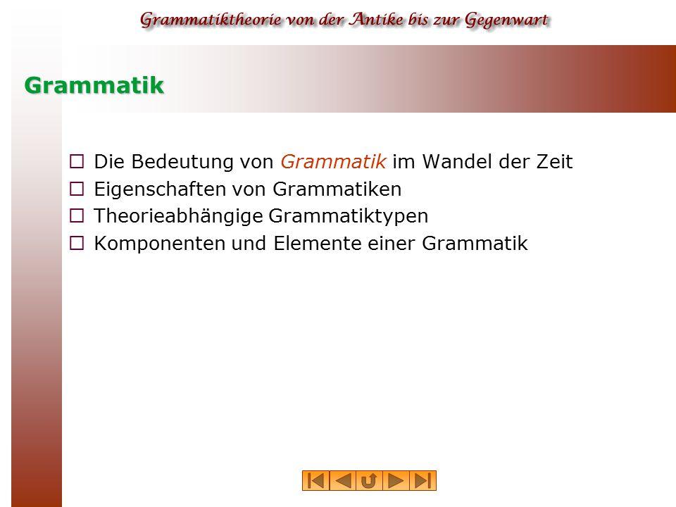 Grammatik  Die Bedeutung von Grammatik im Wandel der Zeit  Eigenschaften von Grammatiken  Theorieabhängige Grammatiktypen  Komponenten und Element