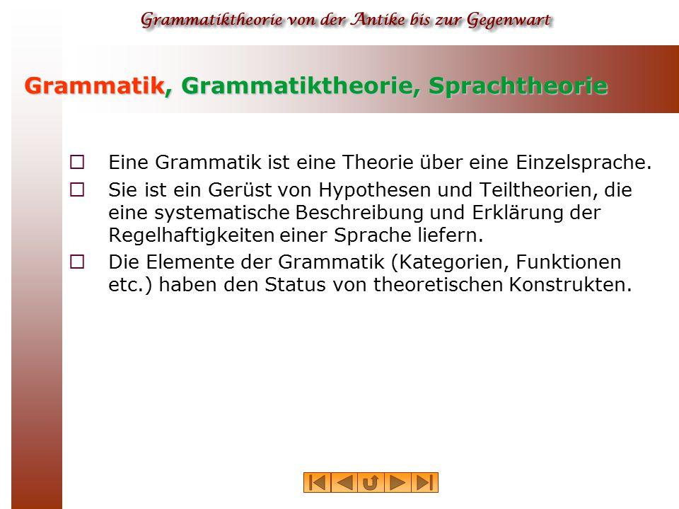 Grammatik, Grammatiktheorie, Sprachtheorie  Eine Grammatik ist eine Theorie über eine Einzelsprache.  Sie ist ein Gerüst von Hypothesen und Teiltheo