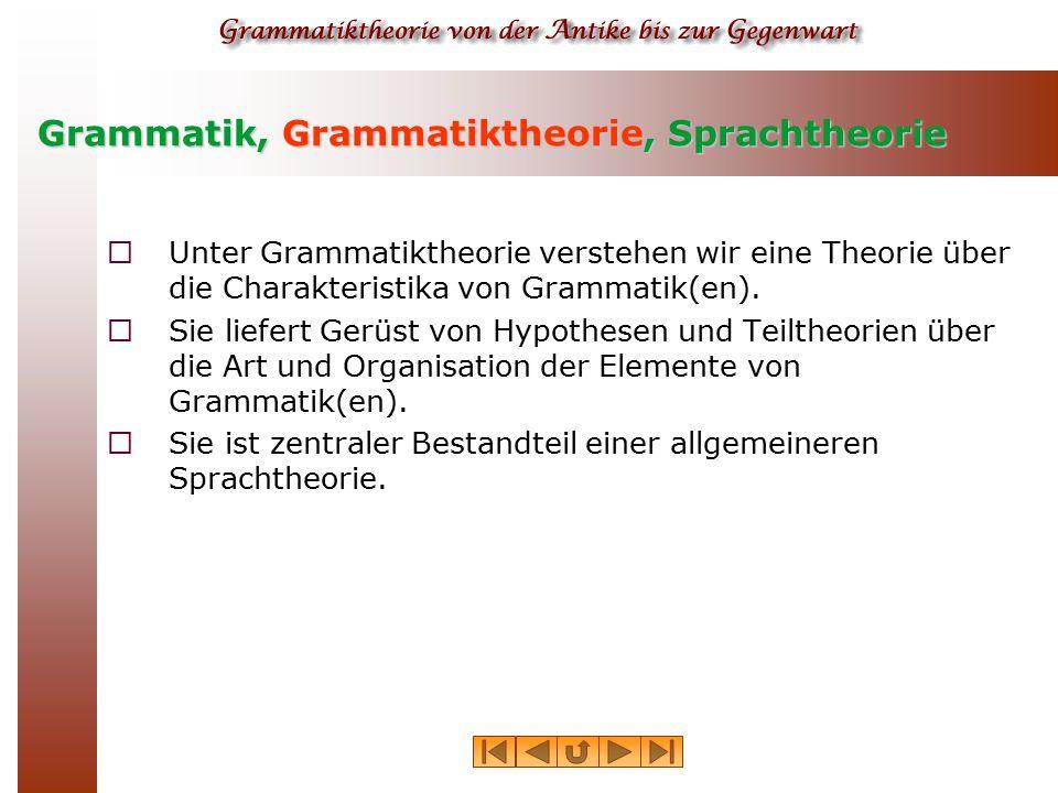 Grammatik, Grammatiktheorie, Sprachtheorie  Unter Grammatiktheorie verstehen wir eine Theorie über die Charakteristika von Grammatik(en).  Sie liefe