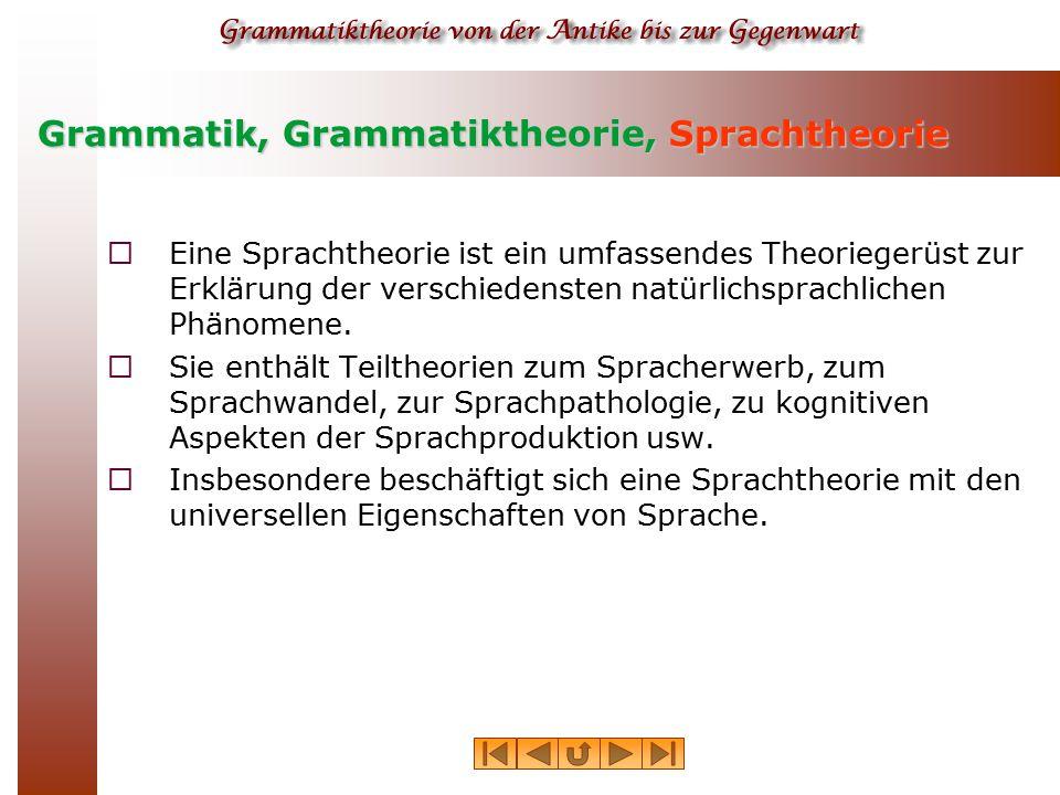 Grammatik, Grammatiktheorie, Sprachtheorie  Eine Sprachtheorie ist ein umfassendes Theoriegerüst zur Erklärung der verschiedensten natürlichsprachlic
