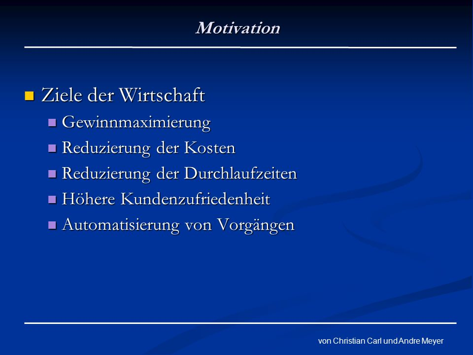 von Christian Carl und Andre Meyer Stufen der Evolution Reifegradmodell Reifegradmodell Entwicklung eines IT Systems Entwicklung eines IT Systems Ziel Autonomes System Ziel Autonomes System 5 Stufen 5 Stufen Basic Basic Managed Managed Predictive Predictive Adaptive Adaptive Autonomic Autonomic