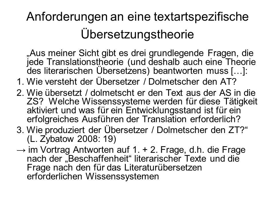 """Anforderungen an eine textartspezifische Übersetzungstheorie """"Aus meiner Sicht gibt es drei grundlegende Fragen, die jede Translationstheorie (und des"""