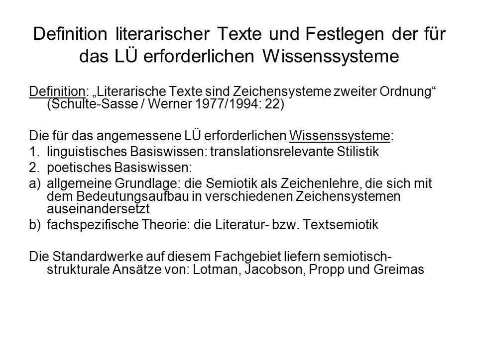"""Definition literarischer Texte und Festlegen der für das LÜ erforderlichen Wissenssysteme Definition: """"Literarische Texte sind Zeichensysteme zweiter"""