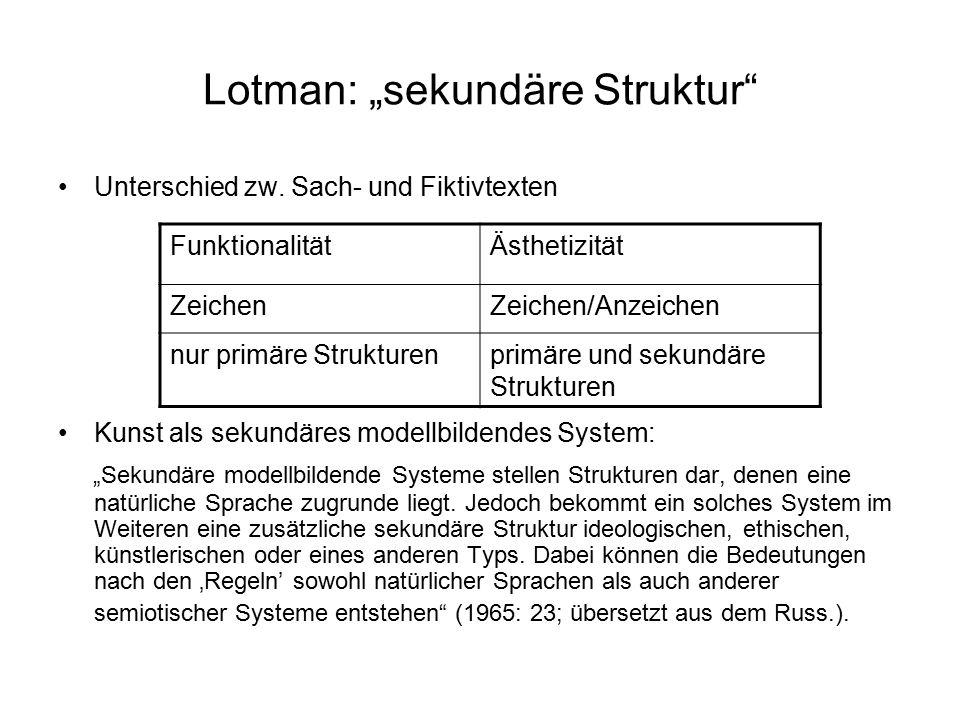 """Lotman: """"sekundäre Struktur"""" Unterschied zw. Sach- und Fiktivtexten Kunst als sekundäres modellbildendes System: """"Sekundäre modellbildende Systeme ste"""