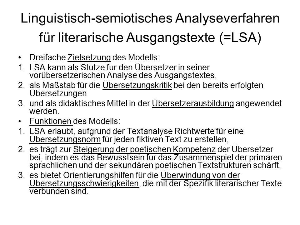 Linguistisch-semiotisches Analyseverfahren für literarische Ausgangstexte (=LSA) Dreifache Zielsetzung des Modells: 1.LSA kann als Stütze für den Über