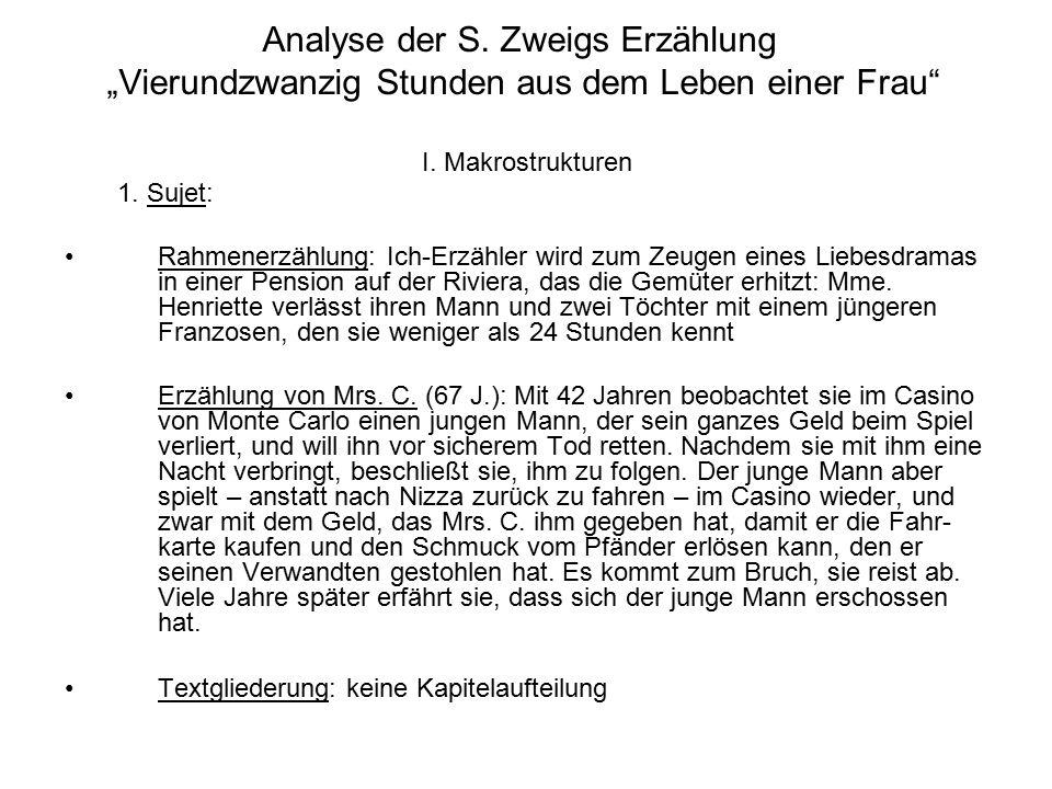 """Analyse der S. Zweigs Erzählung """"Vierundzwanzig Stunden aus dem Leben einer Frau"""" I. Makrostrukturen 1. Sujet: Rahmenerzählung: Ich-Erzähler wird zum"""