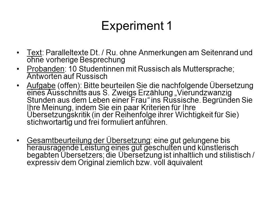 Experiment 1 Text: Paralleltexte Dt. / Ru. ohne Anmerkungen am Seitenrand und ohne vorherige Besprechung Probanden: 10 Studentinnen mit Russisch als M