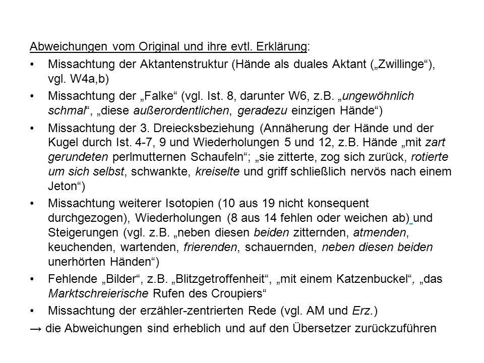 """Abweichungen vom Original und ihre evtl. Erklärung: Missachtung der Aktantenstruktur (Hände als duales Aktant (""""Zwillinge""""), vgl. W4a,b) Missachtung d"""
