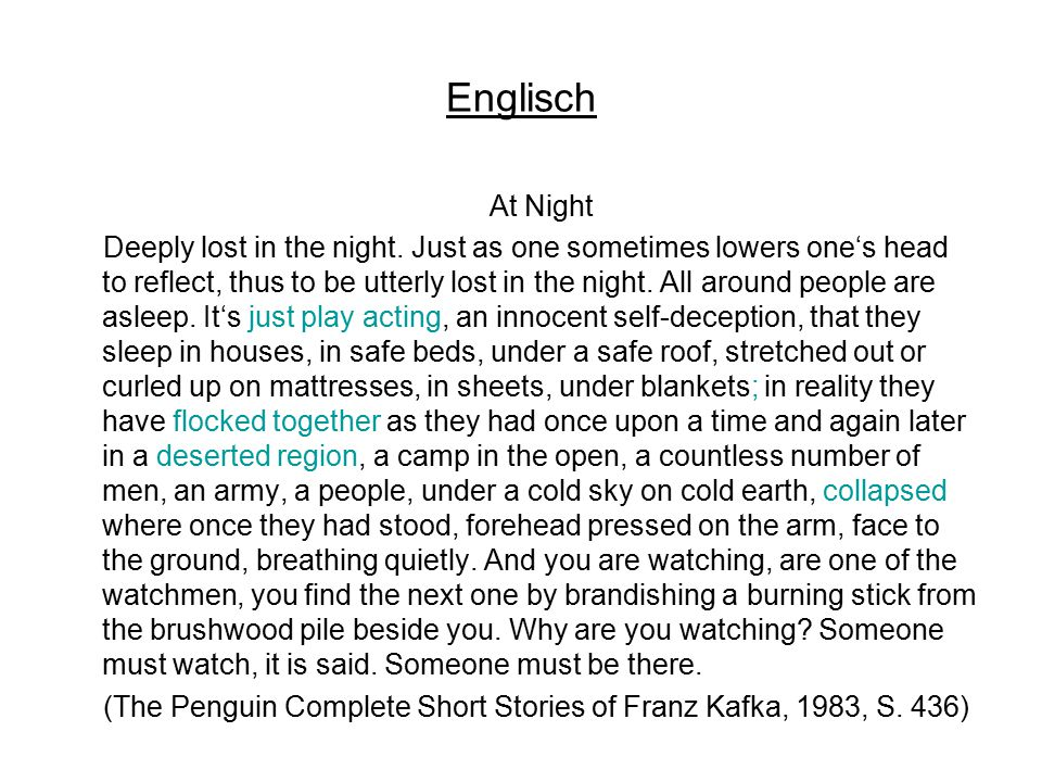 Englisch At Night Deeply lost in the night. Just as one sometimes lowers one's head to reflect, thus to be utterly lost in the night. All around peopl