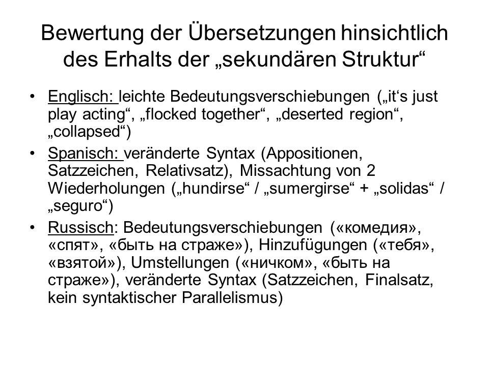 """Bewertung der Übersetzungen hinsichtlich des Erhalts der """"sekundären Struktur"""" Englisch: leichte Bedeutungsverschiebungen (""""it's just play acting"""", """"f"""