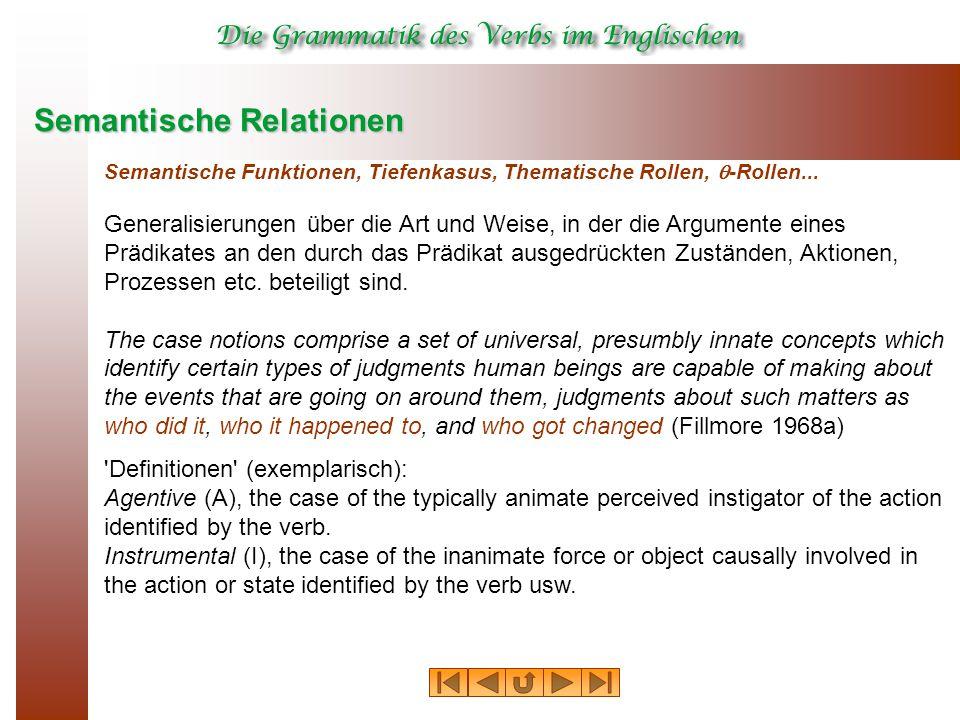 Semantische Relationen Semantische Funktionen, Tiefenkasus, Thematische Rollen,  -Rollen... Generalisierungen über die Art und Weise, in der die Argu