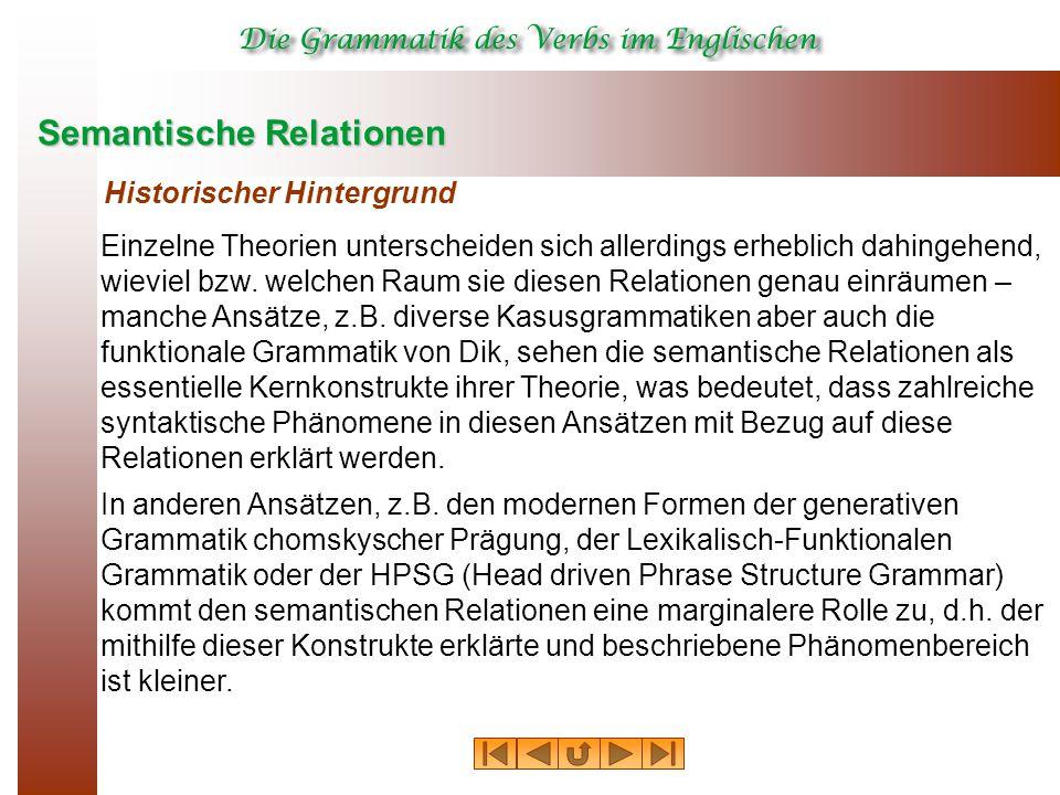 Semantische Relationen Historischer Hintergrund Einzelne Theorien unterscheiden sich allerdings erheblich dahingehend, wieviel bzw. welchen Raum sie d