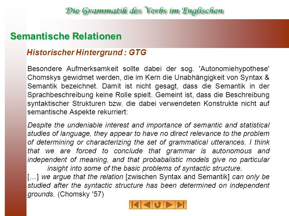 Semantische Relationen Historischer Hintergrund : GTG Besondere Aufmerksamkeit sollte dabei der sog. 'Autonomiehypothese' Chomskys gewidmet werden, di