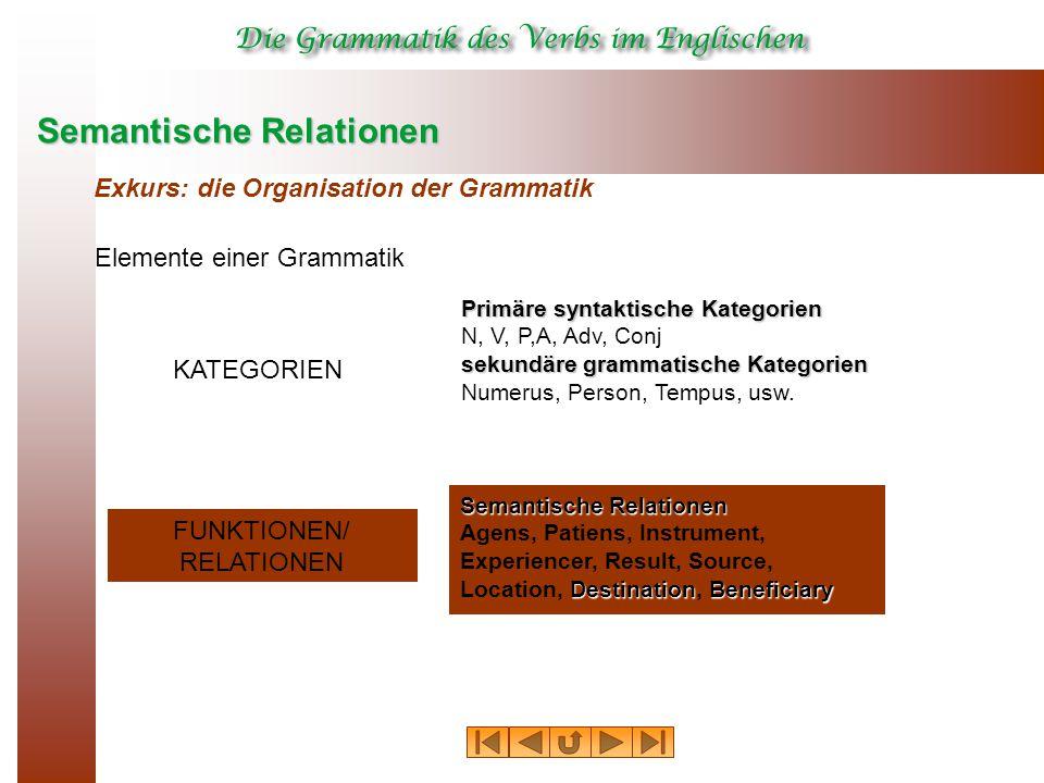 Semantische Relationen Exkurs: die Organisation der Grammatik Elemente einer Grammatik KATEGORIEN FUNKTIONEN/ RELATIONEN Primäre syntaktische Kategori