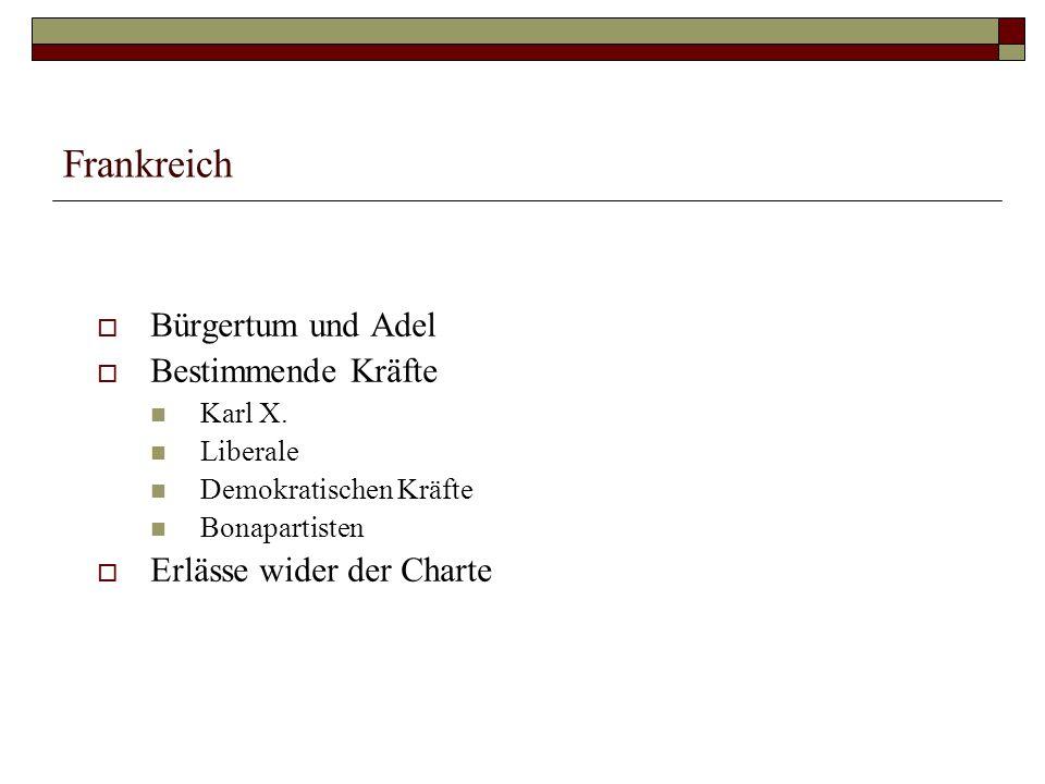 Frankreich  Bürgertum und Adel  Bestimmende Kräfte Karl X.